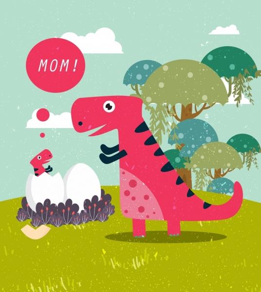 wild dinosaur drawing mom kid icon colored cartoon