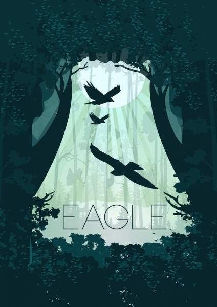 wild forest background eagle silhouettes tree sun icons