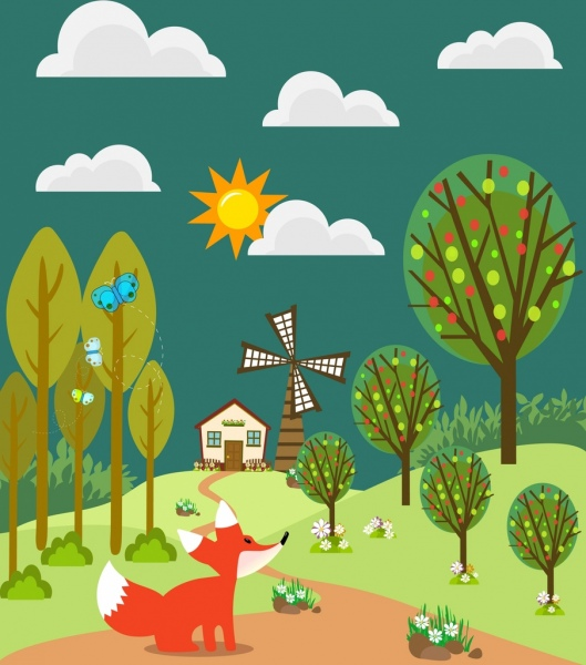 wild fox on hill background colored cartoon decoration