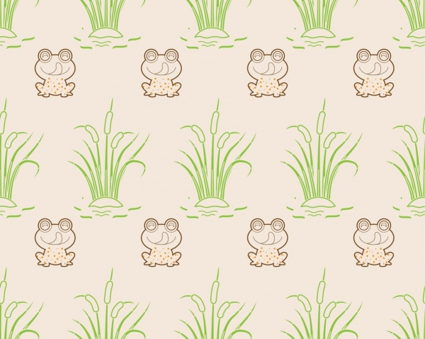 wild frog pattern outline colored repeating style