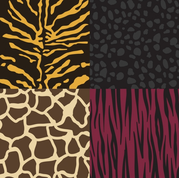 wild leather pattern collection various colored flat design