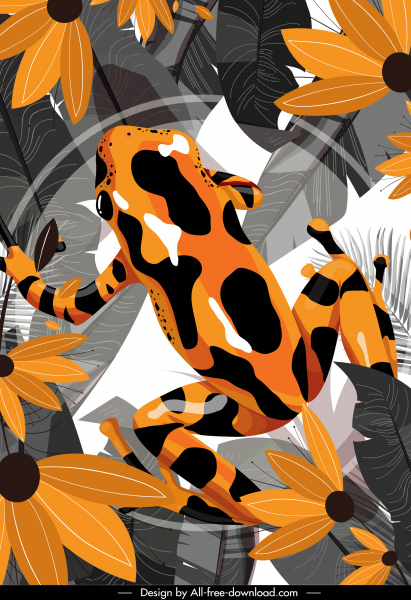 wild life background flat frog leaves flowers sketch