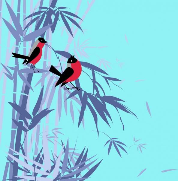 wild life background violet bamboo bird icons decor