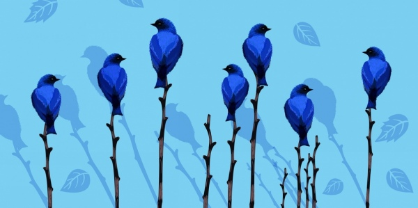 wild life painting blue decor birds trees icons