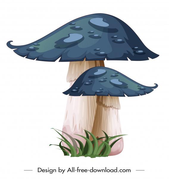 wild mushroom icon bright colored classical sketch