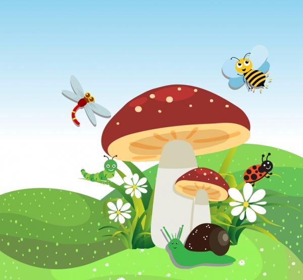 wild nature background colored stylized cartoon decoration