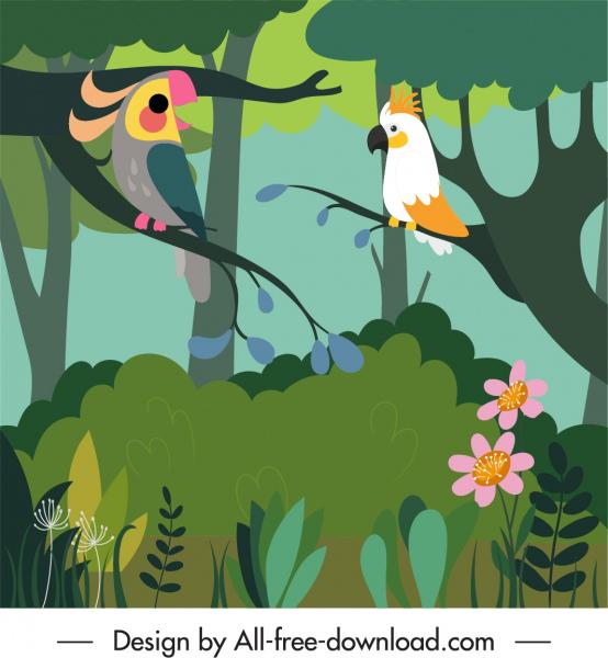 wild nature background colorful parrots jungle sketch
