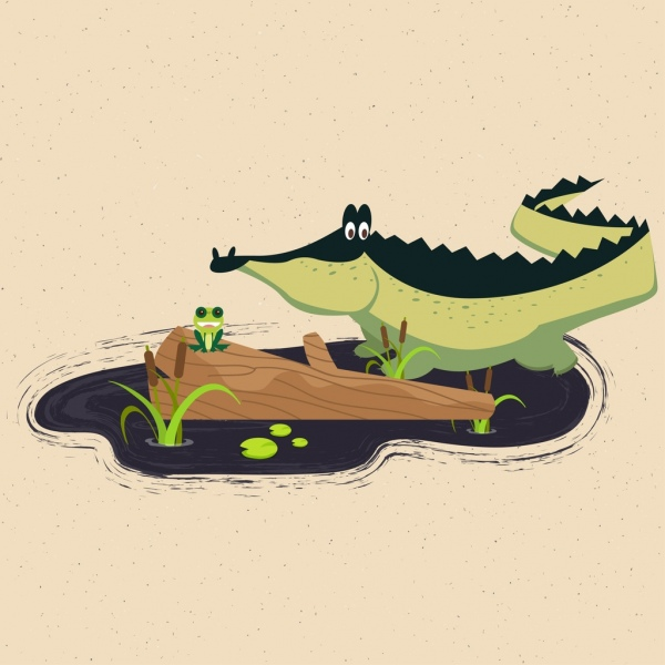 wild nature background crocodile frog icons colored cartoon