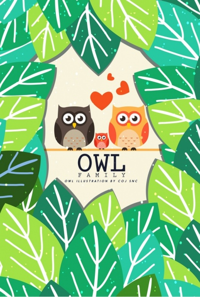 wild nature background green leaves owls icons decoration
