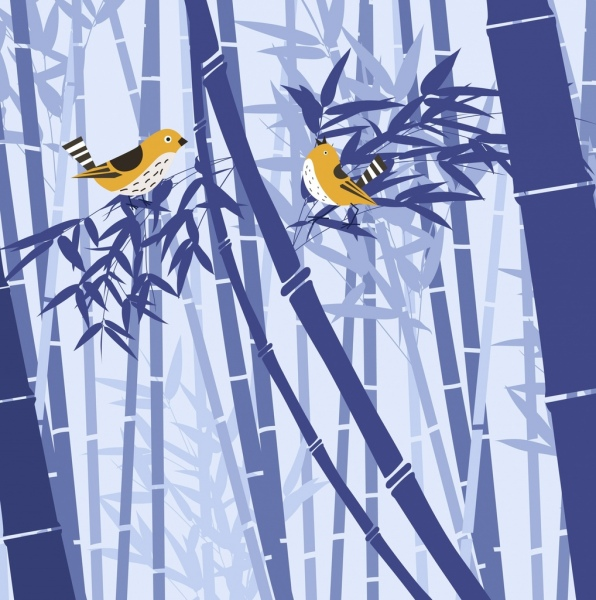 wild nature drawing birds bamboo icon violet design