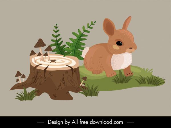 wild nature icon rabbit wood plants sketch