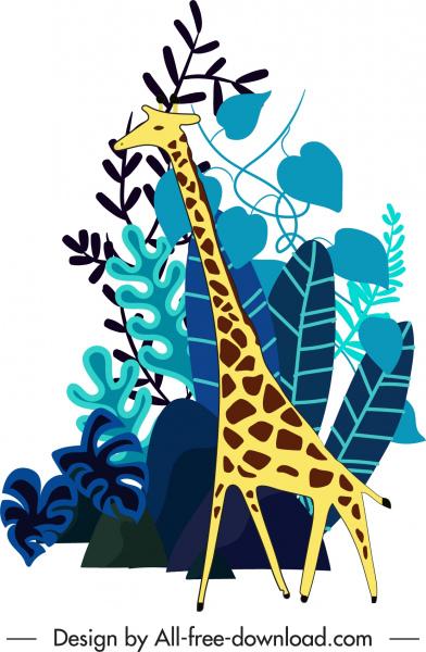 wild nature painting giraffe sketch flat classic handdrawn