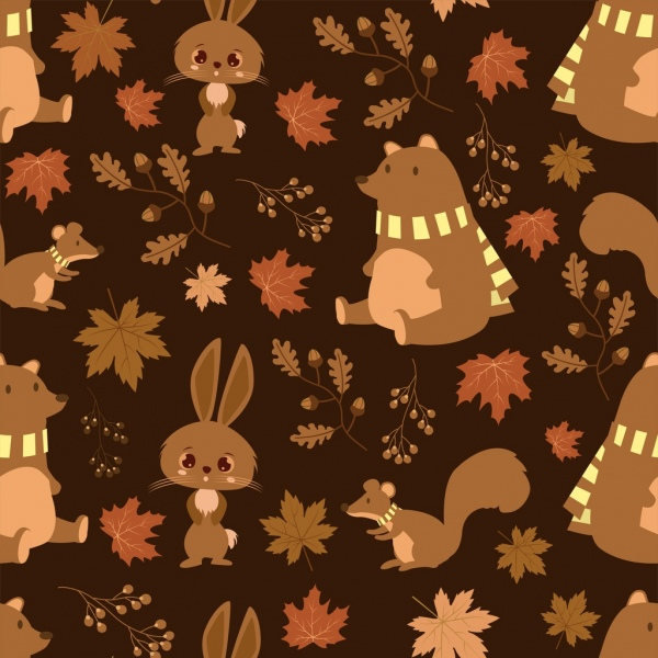 wild nature pattern rabbit bear squirrel leaf icons