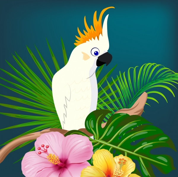 wild parrot background colorful floral decoration