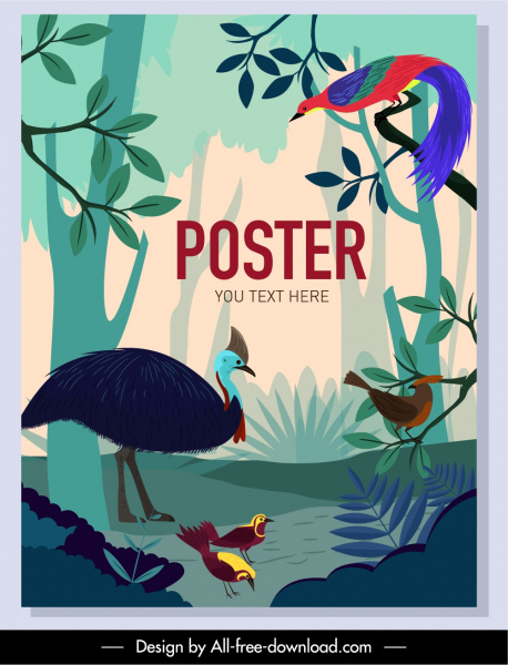 wilderness poster birds species sketch colorful decor