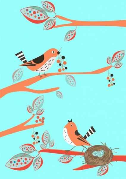 wildlife background bird nest icon colored cartoon design