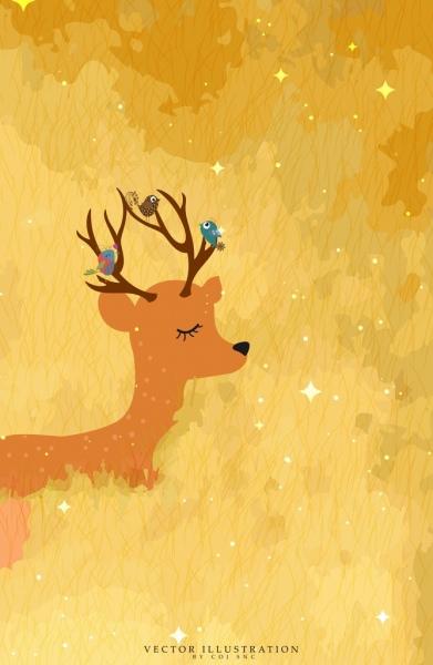wildlife background brown reindeer birds icons decoration