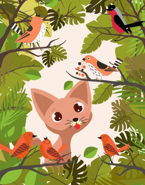 wildlife background cat bird tree decoration colored cartoon