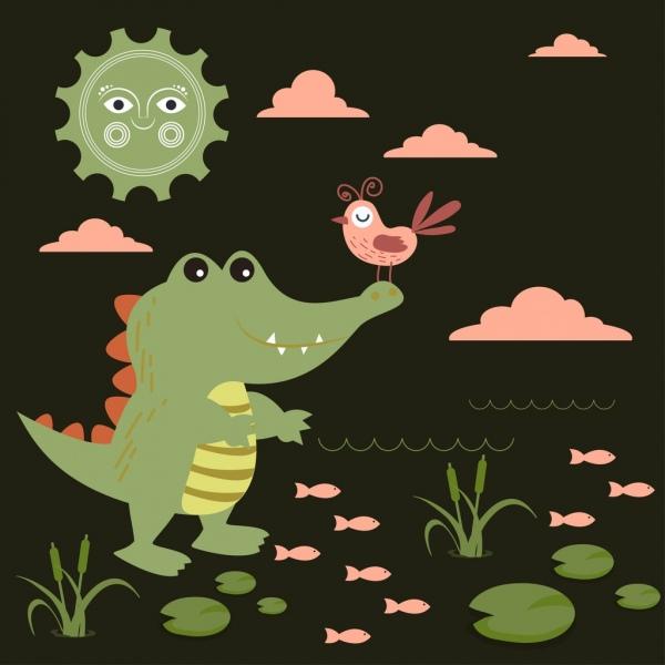 wildlife background crocodile bird stylized sun icons decor
