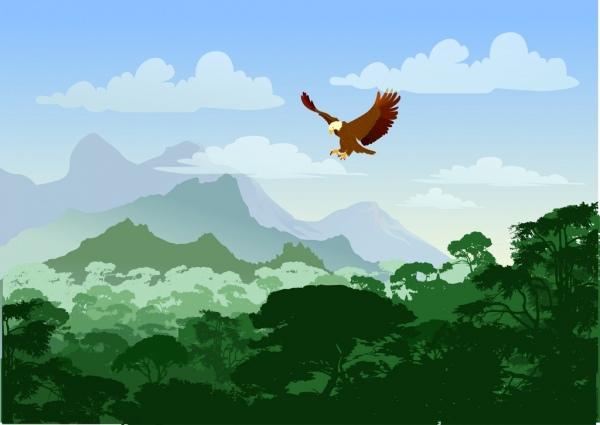 wildlife background flying eagle mountain scene decoration