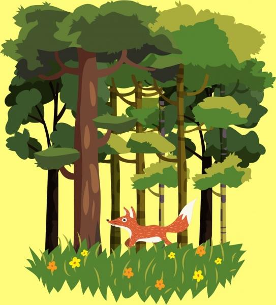 wildlife background fox green tree icons