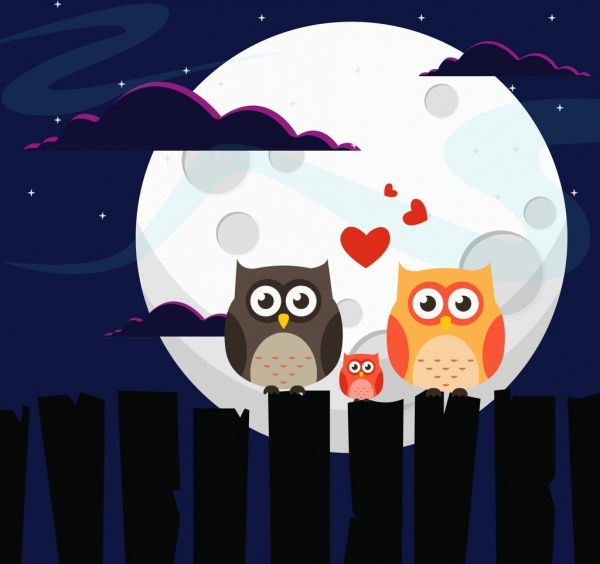 Wildlife Background Owl Family Moonlight Icons Colored Cartoon Free