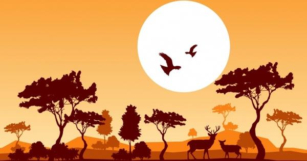 wildlife background reindeer birds moon icons silhouette design