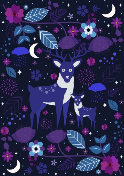 wildlife background reindeer flowers icons dark purple decor