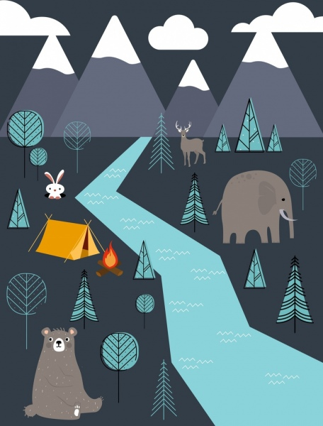 wildlife camping background animals tent campfire trees icons