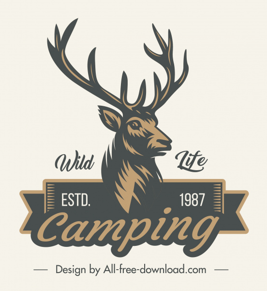 wildlife camping logo retro reindeer sketch