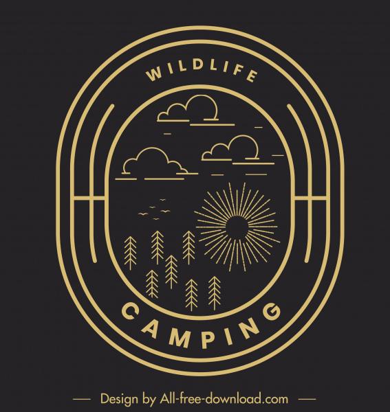 wildlife camping logotype dark flat nature elements sketch