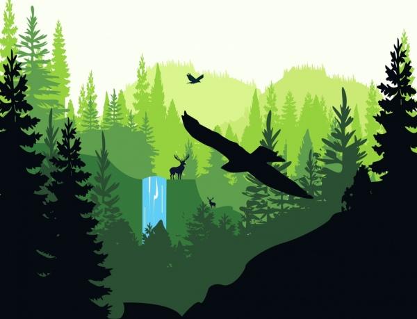 wildlife drawing bird reindeer icons silhouette design