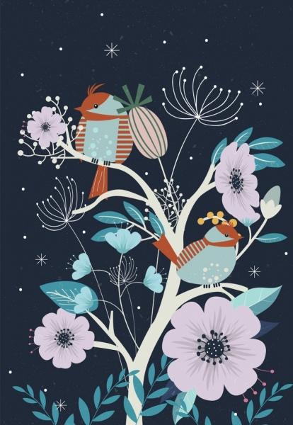 wildlife drawing birds flowers icons sketch