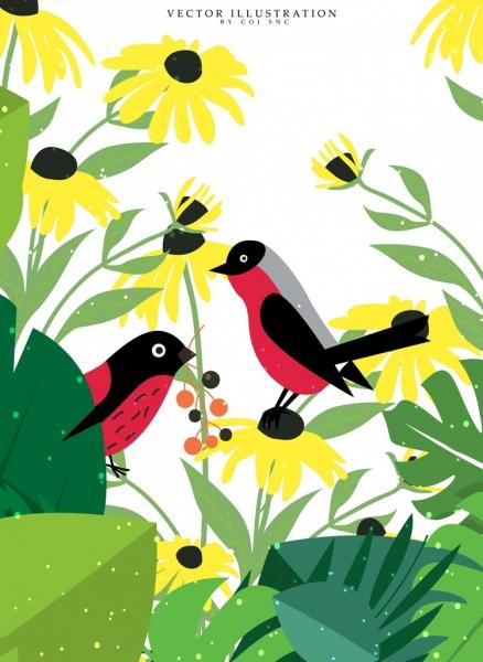 wildlife drawing birds yellow flowers icons