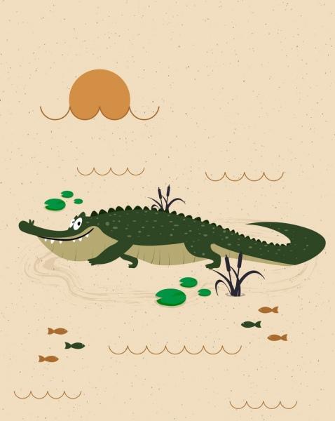 wildlife drawing crocodile icon colored cartoon design