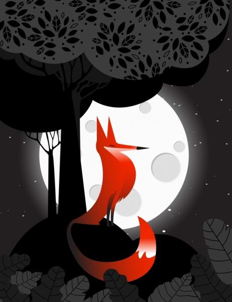 wildlife drawing fox bright moonlight tree icons decoration