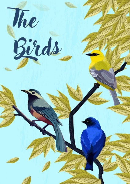 wildlife drawing multicolored birds leaves icons