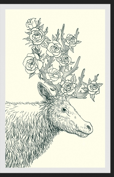 wildlife drawing reindeer rose icons handdrawn outline