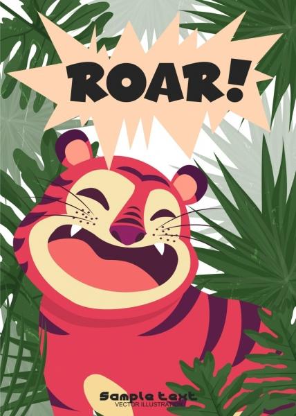 wildlife drawing roar tiger icon colored cartoon design