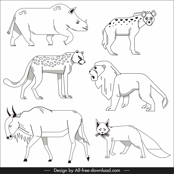 wildlife elements animals sketch black white handdrawn