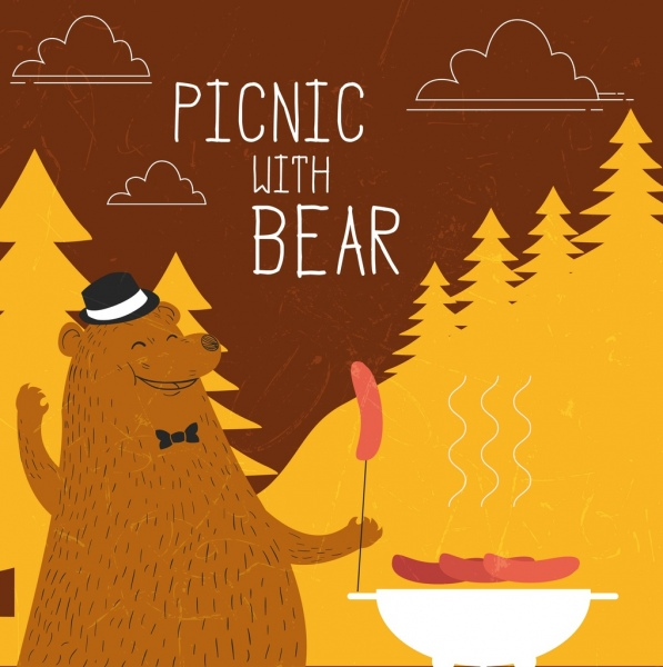 wildlife picnic banner stylized bear barbecue icons