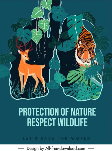 wildlife protection banner dark classical animals jungle sketch