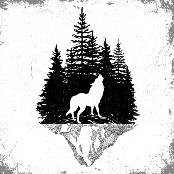 58e583e7a Wildlife tattoo template wolf forest icons silhouette design Free vector  6.76MB