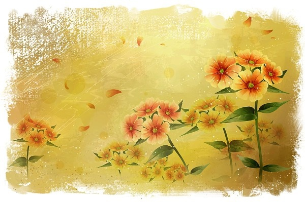 wind and rain flowers background psd layered