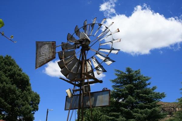 windmill blue sky clouds