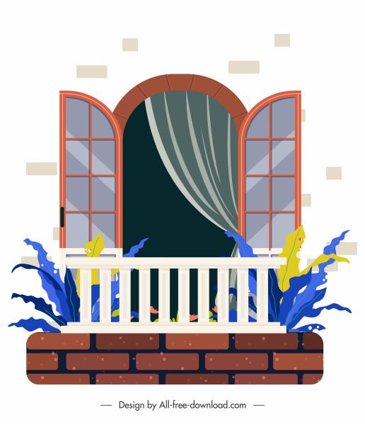 window balcony template elegant flat sketch
