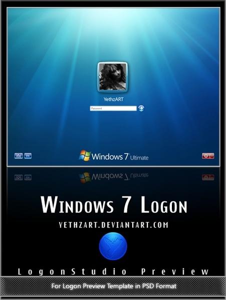 windows 7 style login screen psd layered template