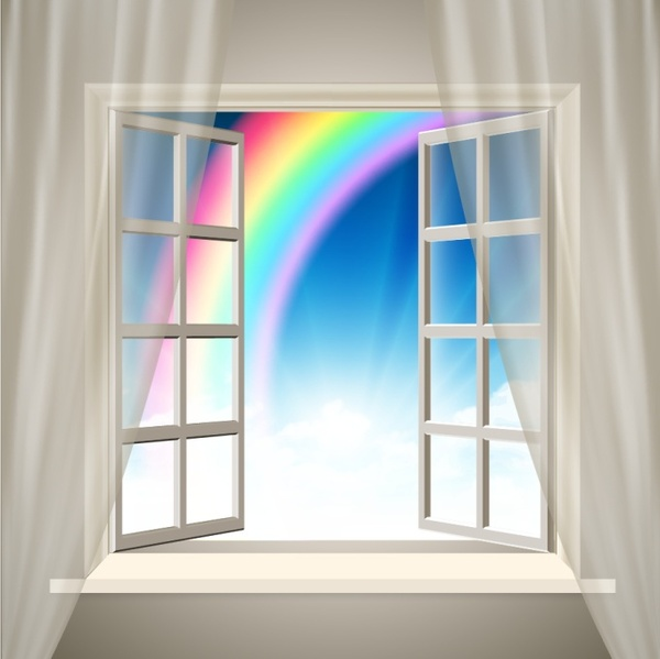 window background 3d design rainbow ornament