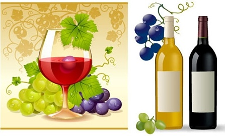 grape wine advertising banner colored realistic style