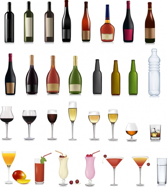beverages design elements bottles glasses icons realistic design
